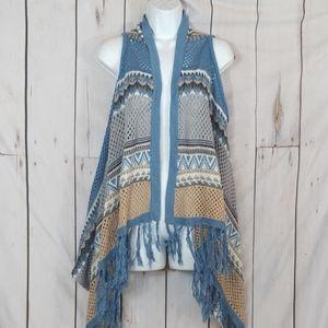 Blue and tan Crochet vest cardigan